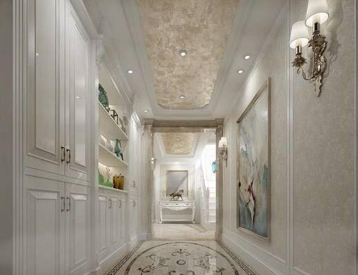 欧式玄关走廊, 壁画, 边几, 边柜, 壁灯, 欧式