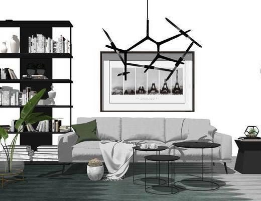 沙发组合, 多人沙发, 吊灯, 壁画, 置物架, 茶几, 边几, 落地灯, 北欧
