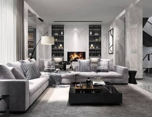 现代, 客厅, 沙发, 茶几, 落地灯, 置物柜, 摆件, 边几, 茶具