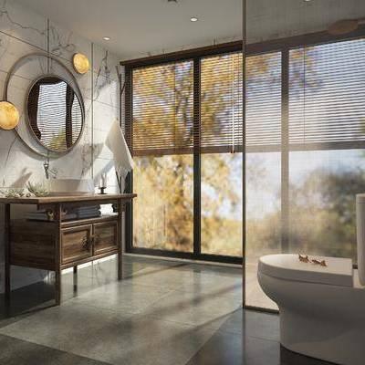 卫浴, 马桶, 镜子, 洗手台, 中式