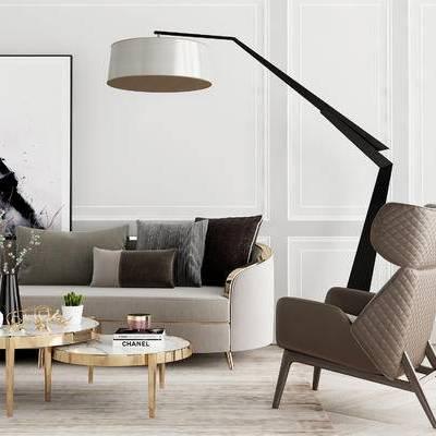 沙发组合, 多人沙发, 茶几, 落地灯, 椅子, 壁画, 现代