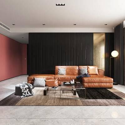 沙发组合, 壁画, 多人沙发, 落地灯, 茶几, 沙发凳, 地毯, 现代