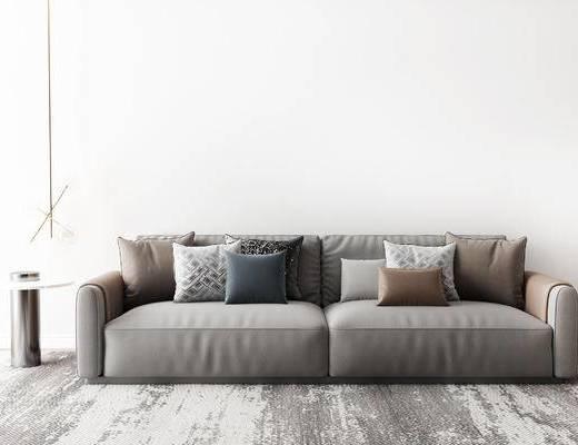 沙发组合, 多人沙发, 吊灯, 圆几, 现代