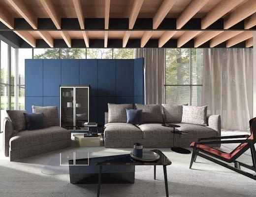 现代, 沙发, 茶几, 置物柜, 椅子