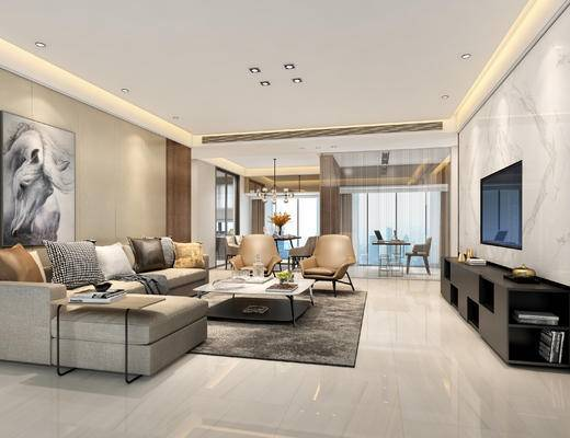 现代客厅, 壁画, 多人沙发, 茶几, 椅子, 电视柜, 吊灯, 桌子, 现代