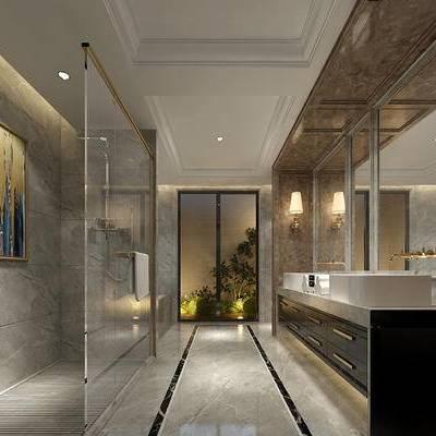 卫浴间, 洗手台, 壁灯, 壁画, 现代