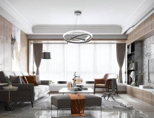现代, 客厅, 沙发, 茶几, 椅子, 置物架, 陈设品, 吊灯, 落地灯