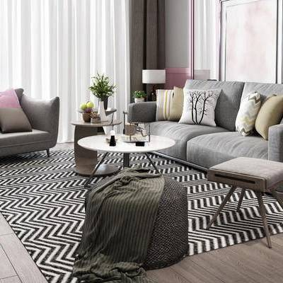 客厅, 沙发茶几组合, 植物盆栽, 台灯, 北欧