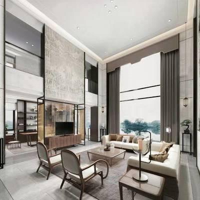客厅, 多人沙发, 椅子, 茶几, 电视柜, 边几, 吊灯, 置物柜, 盆栽, 新中式