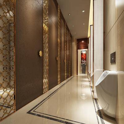 现代卫生间, 小便器, 壁画, 现代