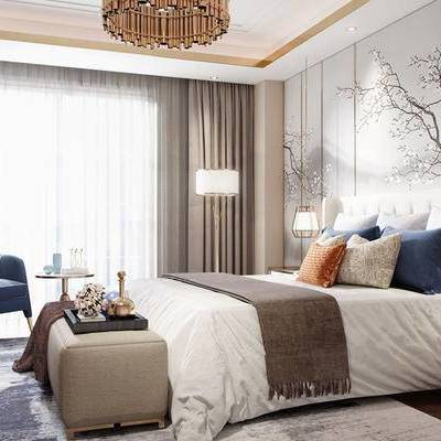 新中式卧室, 壁画, 双人床, 床尾塌, 边柜, 吊灯, 椅子, 边几, 电视柜, 落地灯, 地毯, 新中式
