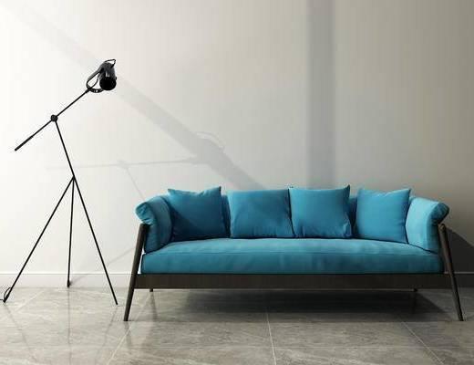 多人沙发, 落地灯, 现代