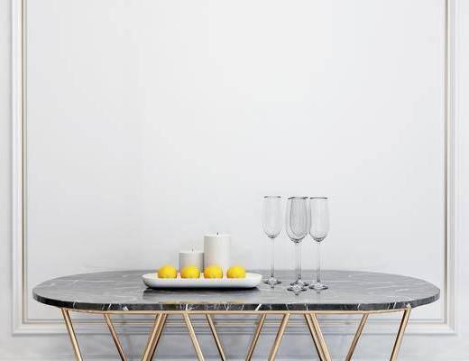 摆件组合, 桌子, 杯子, 现代