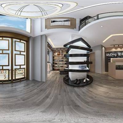 现代服装店, 吊灯, 储物柜, 前台, 展架, 服装, 壁画, 现代