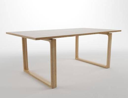 现代简约, 实木桌, 桌子, 现代桌