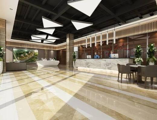 现代售楼部, 吊灯, 前台, 盆栽, 桌子, 椅子, 现代