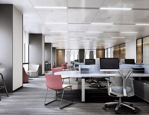 现代, 办公室, 办公桌, 办公椅, 电脑, 椅子, 1000套空间酷赠送模型