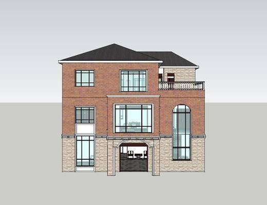 新中式别墅, 别墅, 客厅餐厅, 沙发组合, 卧室