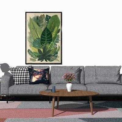 沙发组合, 现代, 多人沙发, 挂画, 茶几, 摆件, 落地灯