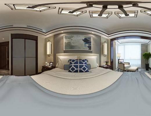 新中式卧室, 壁画, 双人床, 床头柜, 椅子, 落地灯, 沙发脚踏, 壁灯, 新中式