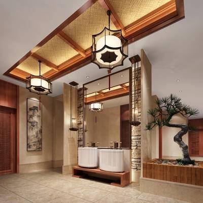 新中式卫生间, 洗手台, 吊灯, 壁画, 盆栽, 新中式