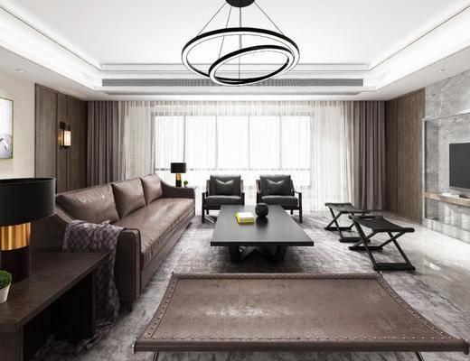 现代, 客厅, 沙发, 茶几, 吊灯, 台灯, 挂画, 装饰画