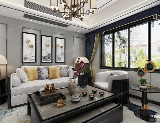 新中式客餐厅, 沙发组合, 电视柜, 鼓凳, 挂画, 雕塑, 餐桌椅