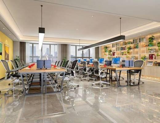 现代办公室, 吊灯, 办公桌椅组合, 壁画, 储物柜, 盆栽, 现代