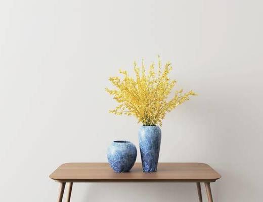 摆件组合, 陶瓷器皿, 花瓶, 花卉, 现代