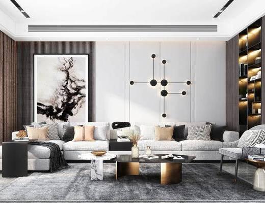沙發組合, 茶幾, 墻飾, 裝飾柜, 裝飾畫, 單椅