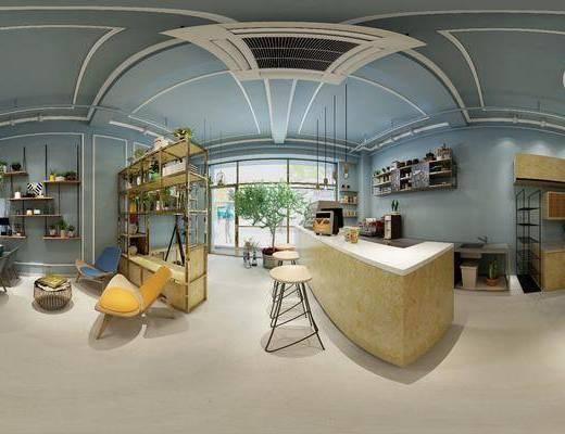 北欧简约餐厅, 北欧桌椅组合, 吊灯, 壁画, 单人椅子, 储物架, 茶几, 吧台, 花瓶, 柜子, 北欧