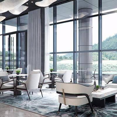 现代, 售楼处, 休闲区, 沙发, 茶几, 1000套空间酷赠送模型