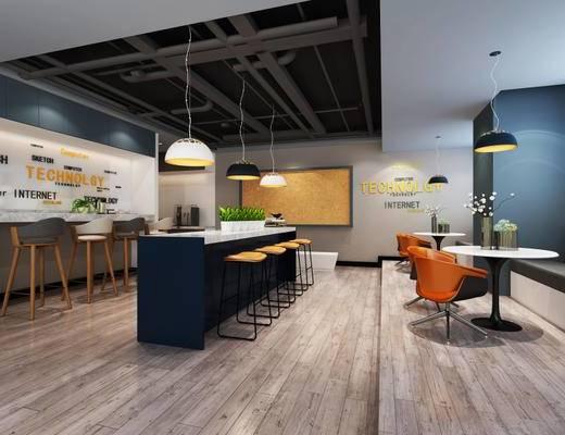 现代简约, 餐厅, 桌椅组合, 吊灯