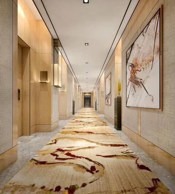 走廊过道, 壁灯, 壁画, 现代