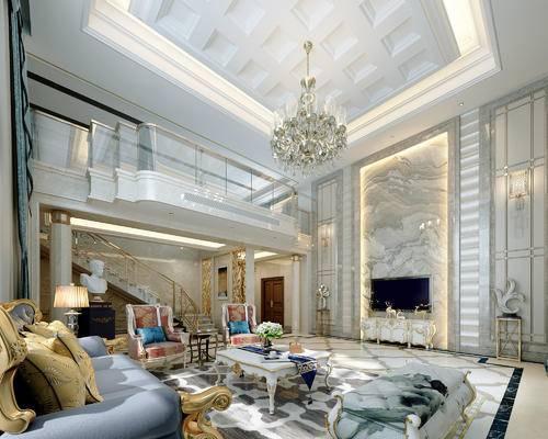 后现代, 客厅, 沙发, 茶几, 别墅, 吊灯, 台灯, 摆件