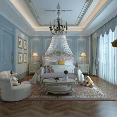 卧室, 双人床, 吊灯, 椅子, 茶几, 台灯, 床头柜, 床尾塌, 壁画, 地毯, 欧式