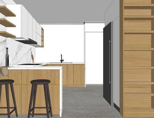 厨房, 现代, 北欧, 单椅, 橱柜