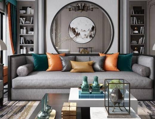 新中式客厅, 新中式书房, 客厅, 书房, 沙发组合