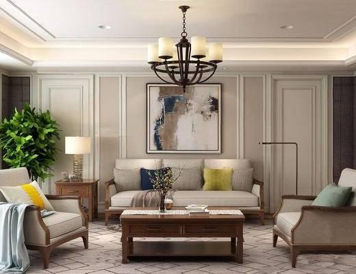 美式, 沙发, 茶几, 吊灯, 盆栽, 台灯, 挂画, 花瓶, 书籍