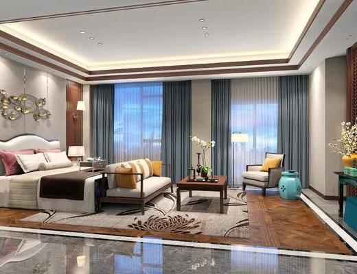 新中式卧室, 双人床, 边几, 椅子, 茶几, 多人沙发, 台灯, 新中式