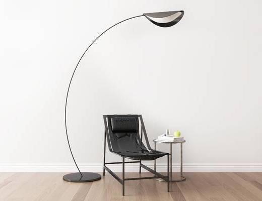 桌椅组合, 单椅, 椅子, 落地灯, 圆几, 现代