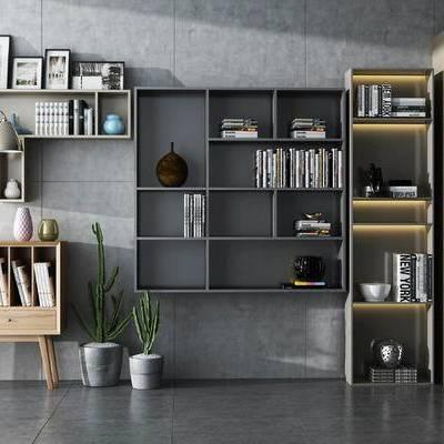 置物柜, 装饰柜, 边柜, 相框, 落地灯, 盆栽, 现代