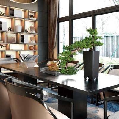 售楼处, 桌子, 椅子, 置物柜, 盆栽, 新中式