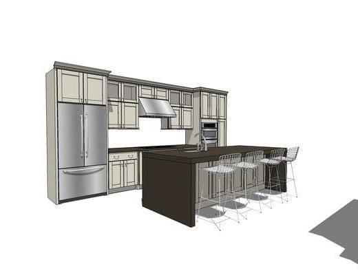 橱柜, 厨柜, 厨房, 吧台, 餐桌, 椅子, 现代