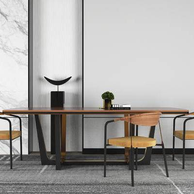现代桌椅组合, 餐桌, 单椅, 盆栽, 现代