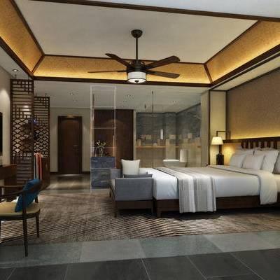 中式客房, 双人床, 床尾塌, 边几, 床头柜, 壁灯, 桌子, 椅子, 壁画, 吊灯, 中式
