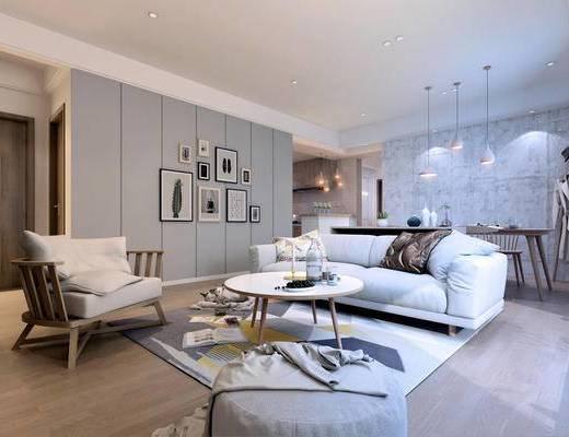 沙发组合, 多人沙发, 桌椅组合, 壁画, 吊灯, 茶几, 北欧
