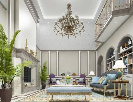 美式客厅, 壁炉, 多人沙发, 茶几, 边几, 台灯, 沙发凳, 椅子, 吊灯, 置物柜, 盆栽, 美式