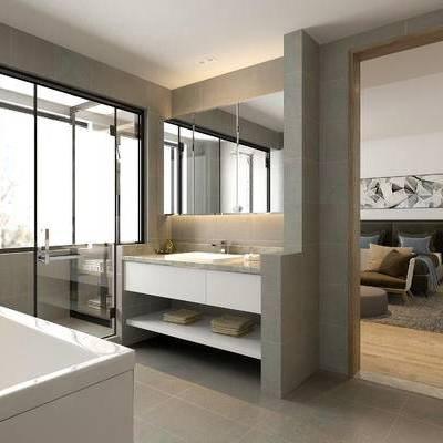 卫浴, 浴缸, 洗手台, 壁画, 淋浴间, 中式