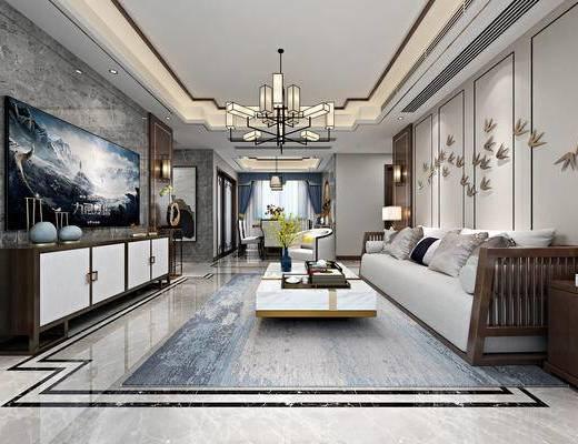 新中式客厅, 客厅, 餐厅, 中式沙发, 电视柜, 餐桌, 椅子, 中式吊灯